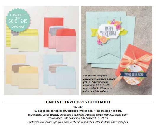 cartes et enveloppes tutti frutti